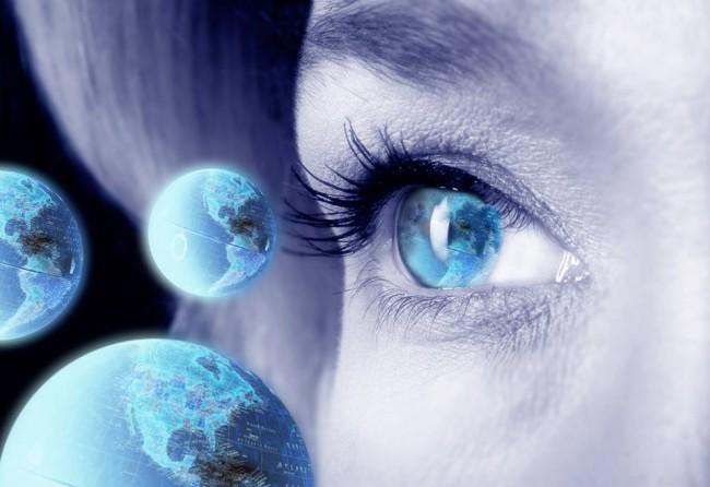 modré oko s planétami